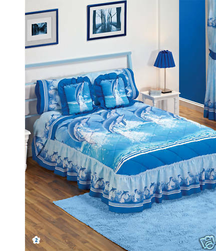 New Blue Dolphins Delfines Bedspread Bedding Set Twin 2pc