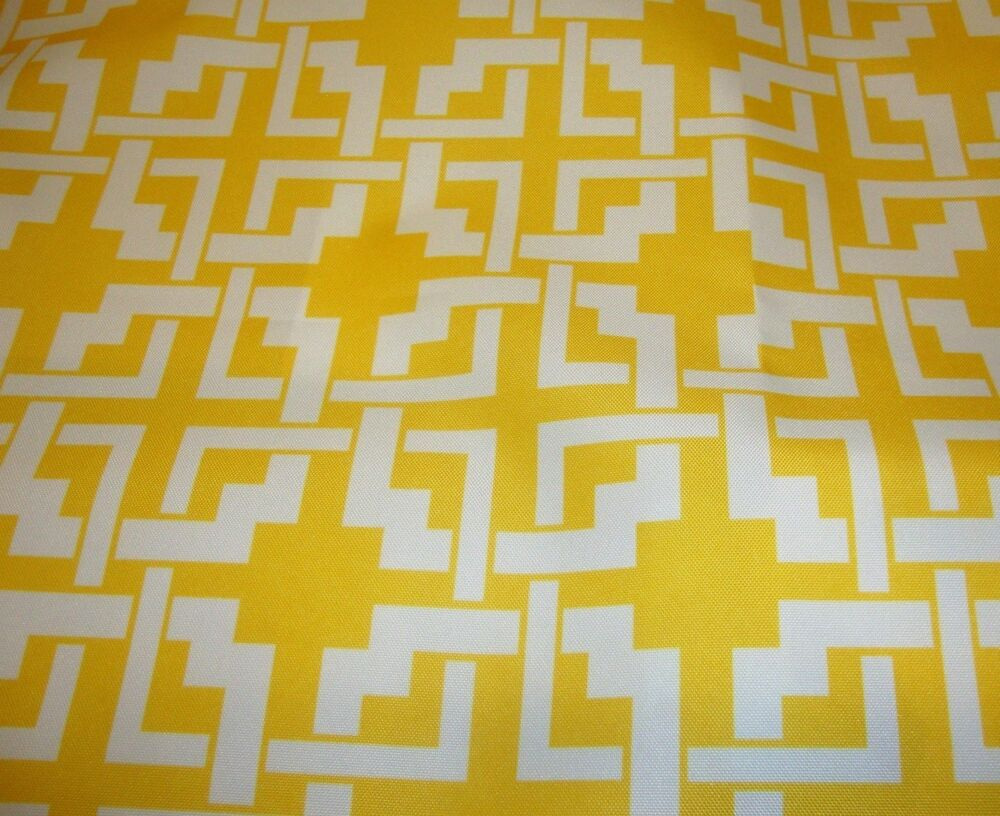 Outdoor Upholstery Waterproof Canvas Yellow White Digital ...