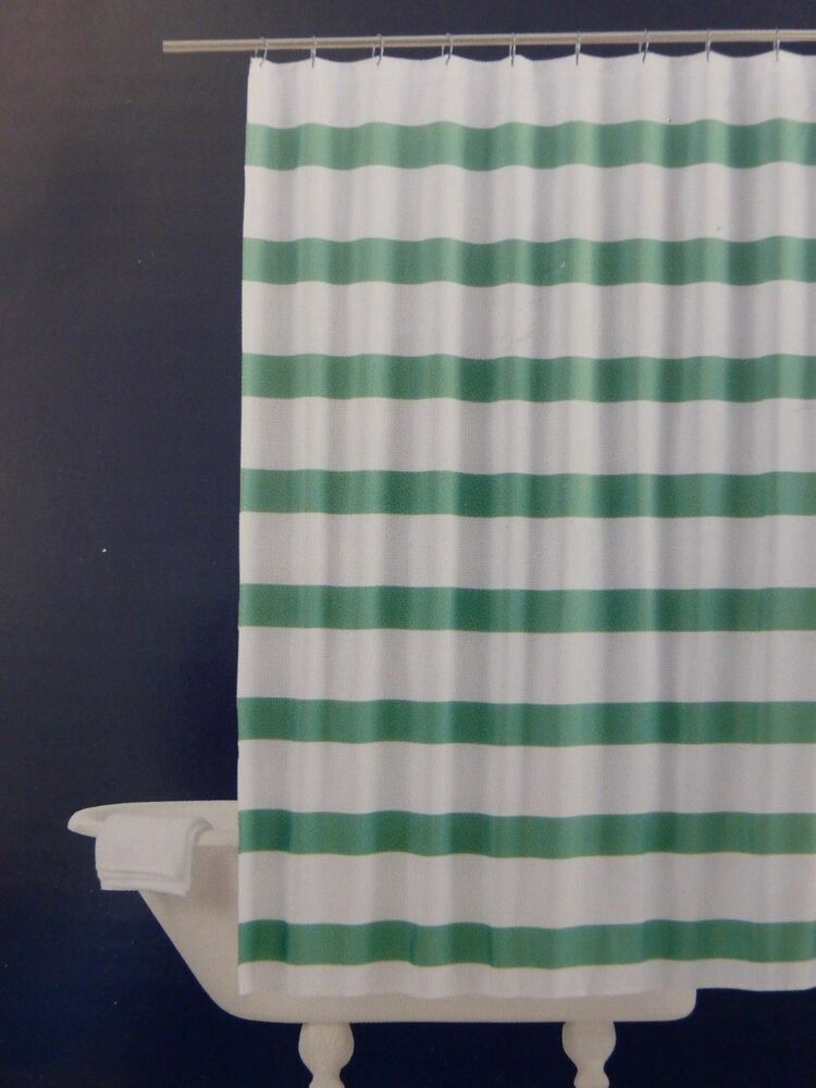 New re room essentials green white rugby stripe fabric for Space curtain fabric