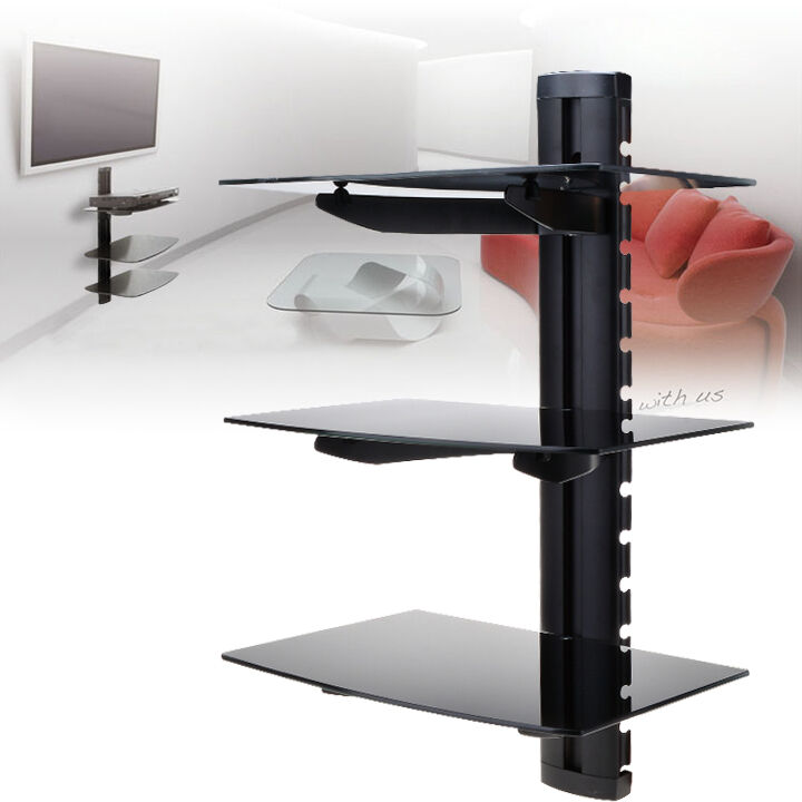 3 tier glass shelf wall mount under tv cable box component dvr dvd bracket us ebay. Black Bedroom Furniture Sets. Home Design Ideas