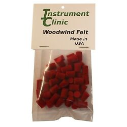 Saxophone Felt Bumpers, 3/8'' x 3/8'' Red, Pack of 25, Made in USA!