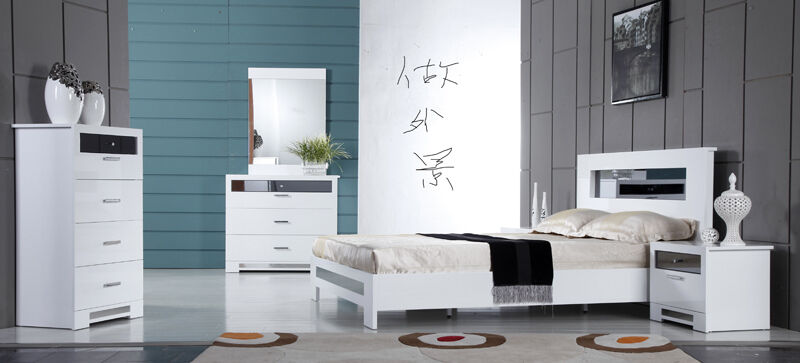 high gloss designer bedroom furniture white glass ebay