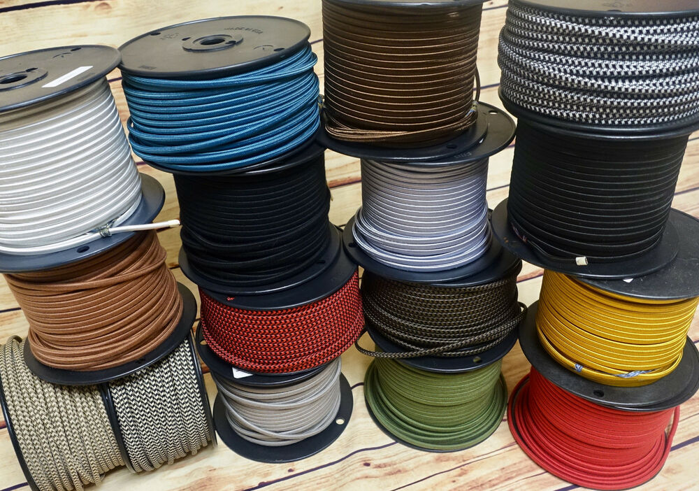 25 Cloth Covered 2 Wire Electrical Cord Rayon Fabric