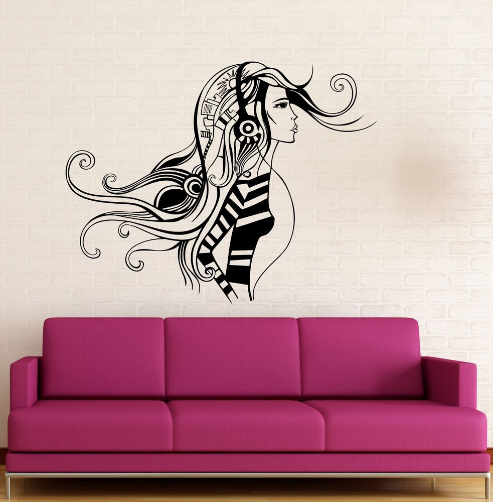 Wall sticker vinyl decal sexy girl music headphones cool for Awesome science wall decals