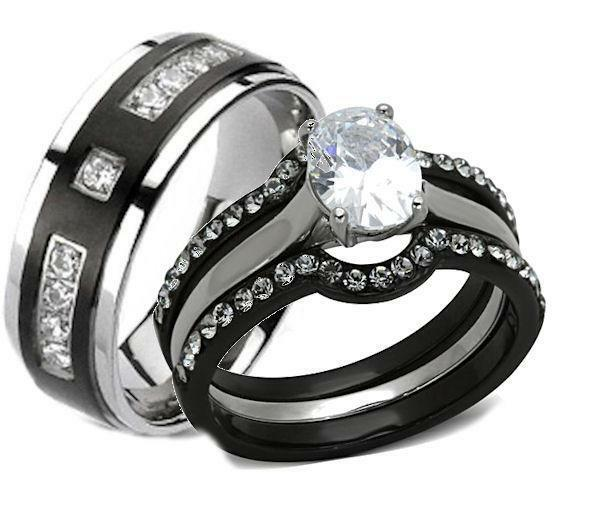 wedding ring sets for her his and hers wedding rings 4 pc black stainless steel 9991