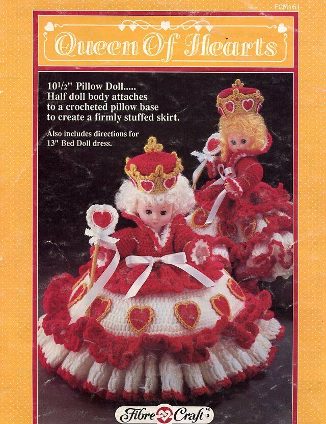 Queen Of Hearts Pillow Bed Doll Dress Crochet Pattern