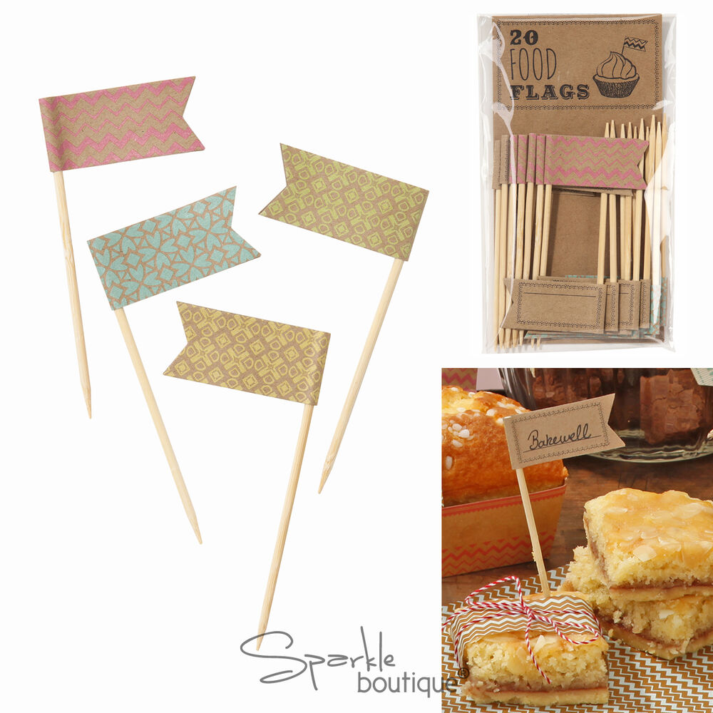 food flags x20 cake picks canape sticks vintage style baking labels decoration ebay. Black Bedroom Furniture Sets. Home Design Ideas