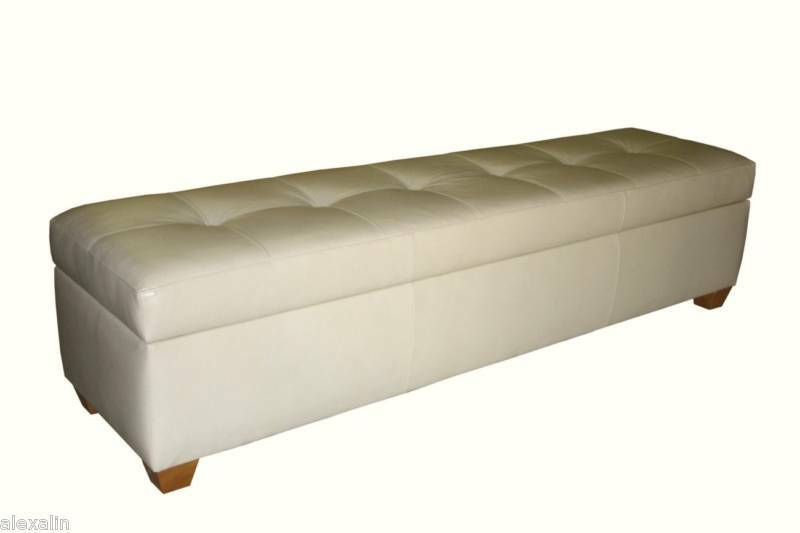 King size storage bench in bone genuine leather tufted ottoman bed chest ebay King size bed bench