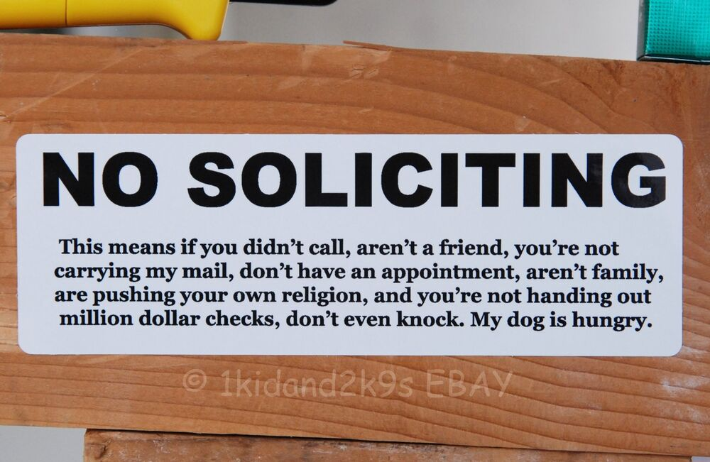 No Soliciting Solicitors Sticker Door Sign Signs Decal