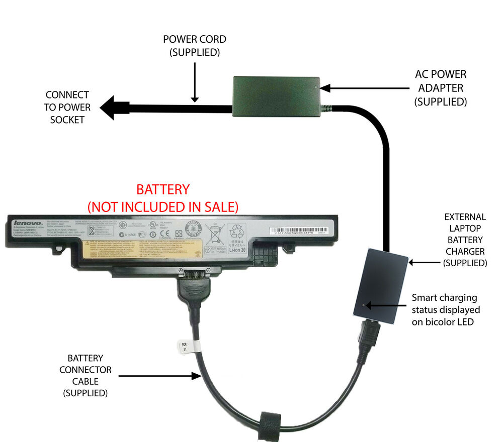 External Laptop Battery Charger For Lenovo Ideapad Y490