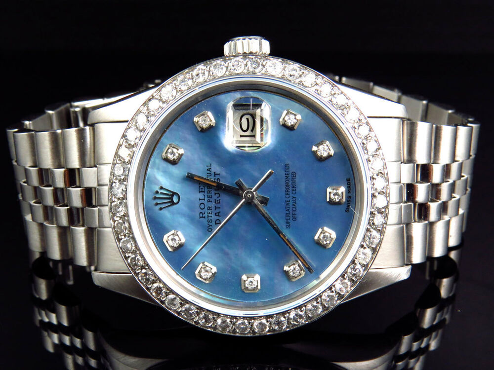 Mens rolex datejust oyster stainless steel blue pearl diamond watch with 3 ct 686907235624 ebay for Pearl watches