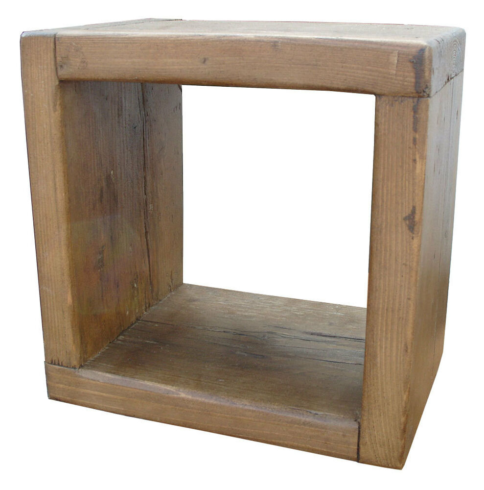 rustic chunky cube solid reclaimed wood open display storage 12 x 12 ebay. Black Bedroom Furniture Sets. Home Design Ideas