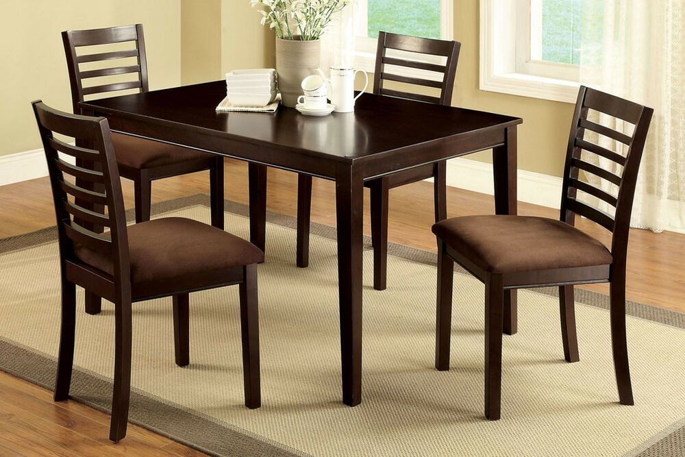 Dining room furniture table 4 chairs with padded for Four chair dining table set