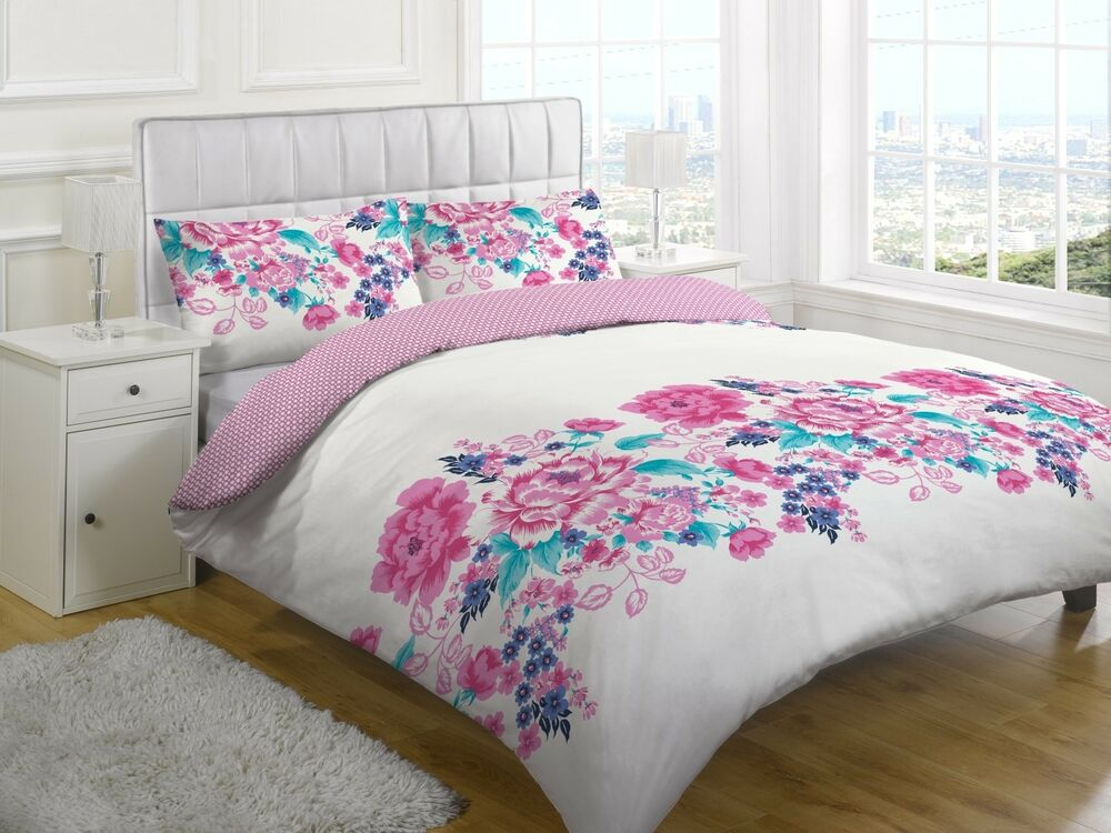 SINGLE DOUBLE KING DUVET SET PINK FLORAL QUILT COVER WITH