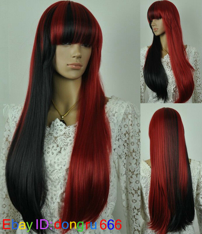 Cosplay Long Red And Black Mix Type Wig+Free Wig Cap A67