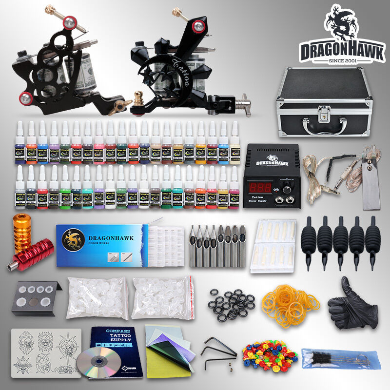 Complete tattoo kit 2 top machine gun 40 color ink power for Tattoo supplies ebay