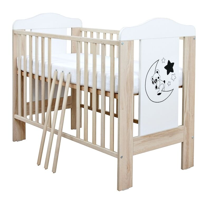 babybett kinderbett gitterbett mond teddy birke wei 60x120 mit matratze ebay. Black Bedroom Furniture Sets. Home Design Ideas