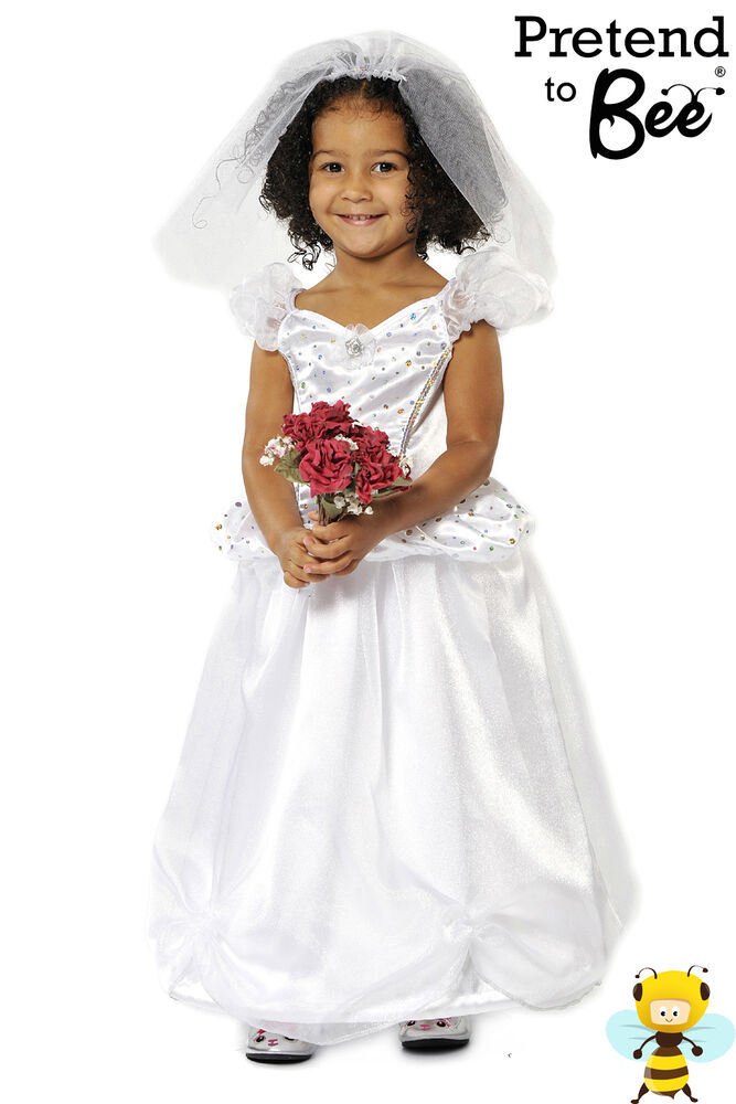 childrens childs girls bride wedding fancy dress up
