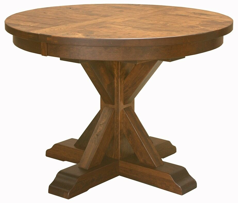 Amish rustic plank top dining table round pedestal solid for Hardwood dining table