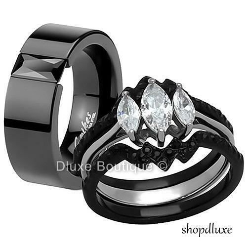 HIS Amp HERS 4 PIECE BLACK STAINLESS STEEL WEDDING ENGAGEMENT RING BAND SET