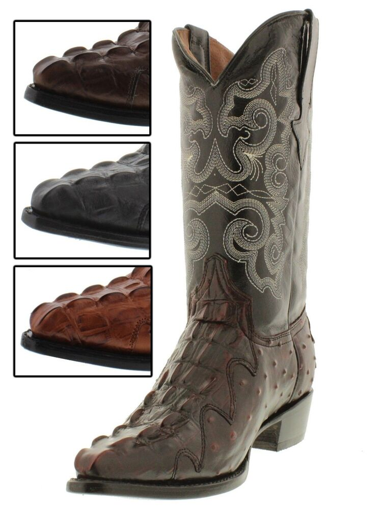 Men S Leather Ostrich Crocodile Alligator Tail Western