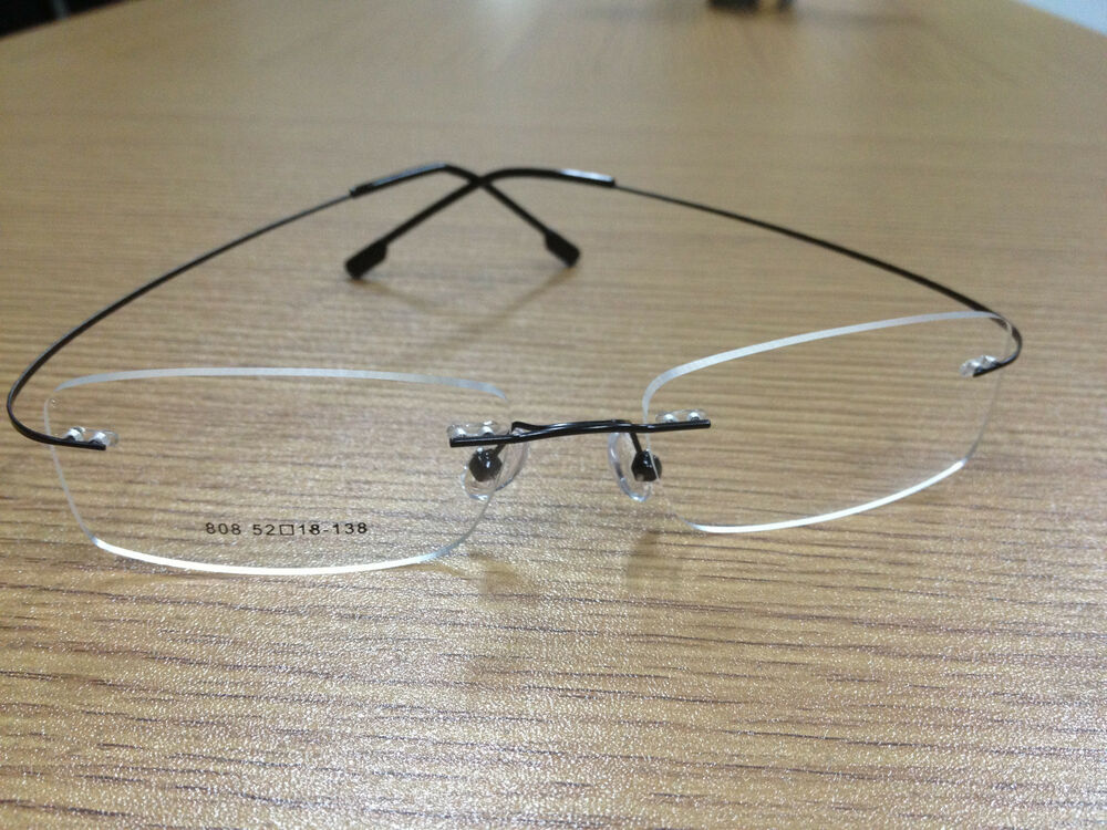 Rimless titanium alloy unisex prescription eyeglass frames ...
