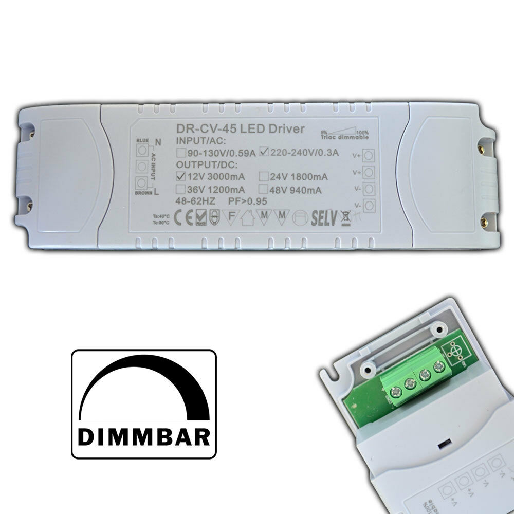 dimmbarer led trafo 1 45 watt 12v dc triac dimmer netzteil driver dimmbar ebay. Black Bedroom Furniture Sets. Home Design Ideas
