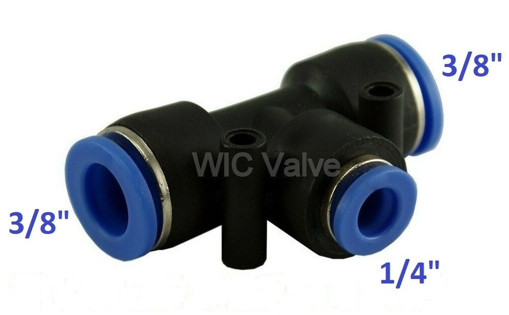 Pcs pneumatic reduced tee union push in fitting tube od