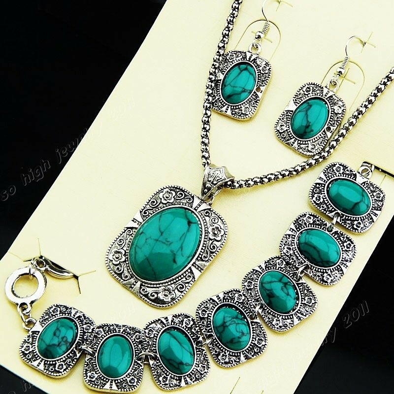 Square Charm Bracelet: Freeshipping Silver Square Turquoise Necklace Earring