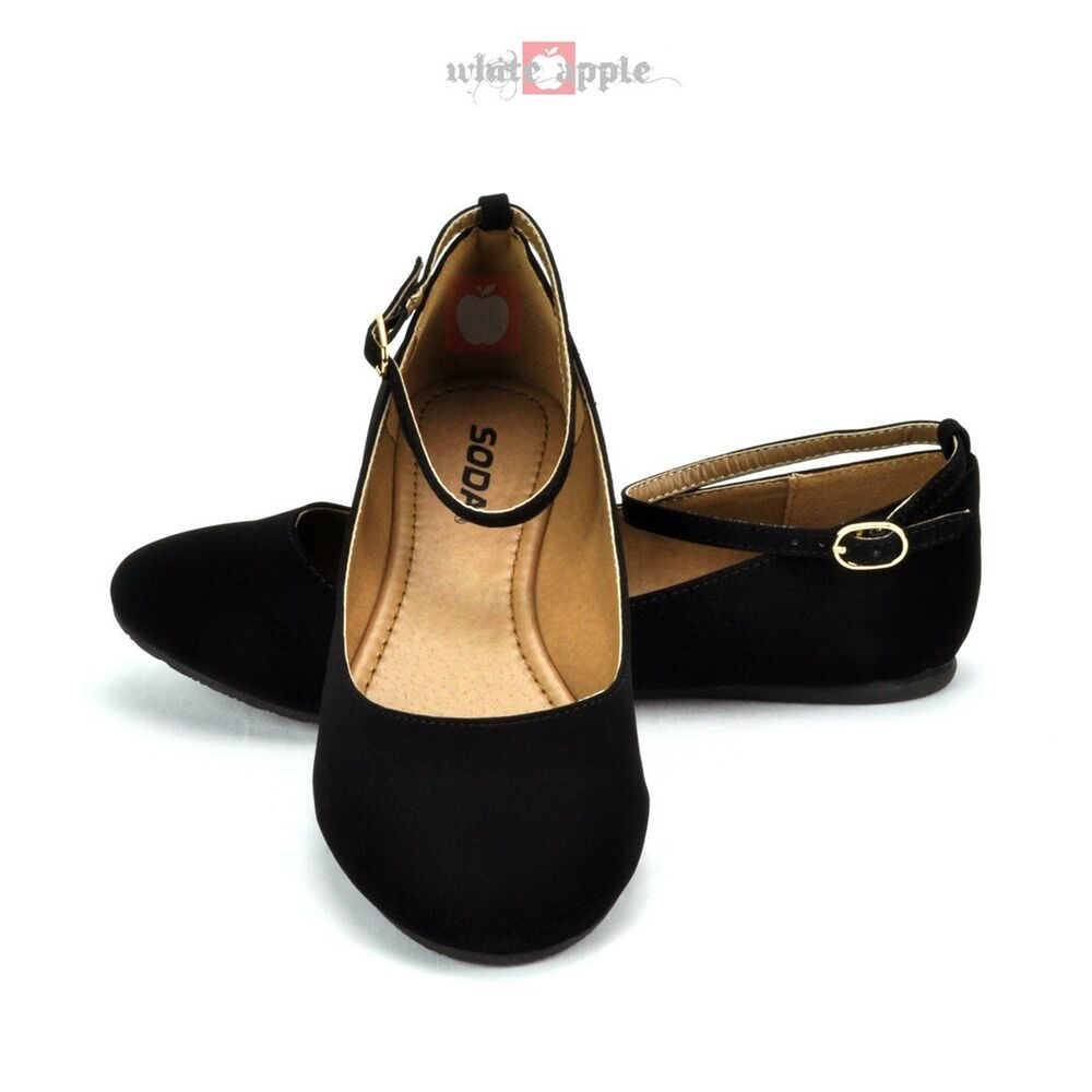 Flat Black Patent Ankle Strap Shoes