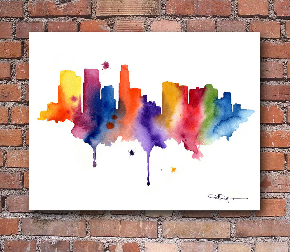 Los angeles skyline abstract watercolor painting art print for Painting in los angeles