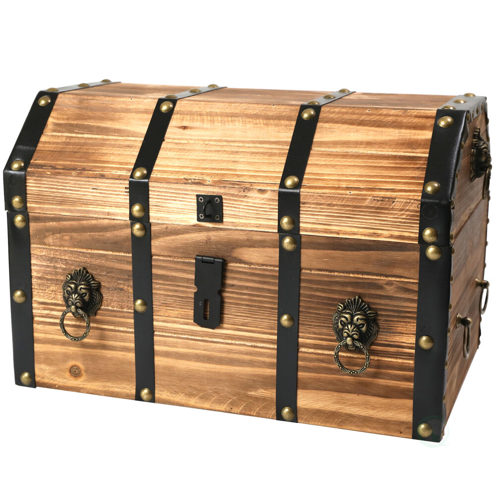 New vintiquewise large wooden pirate lockable trunk with