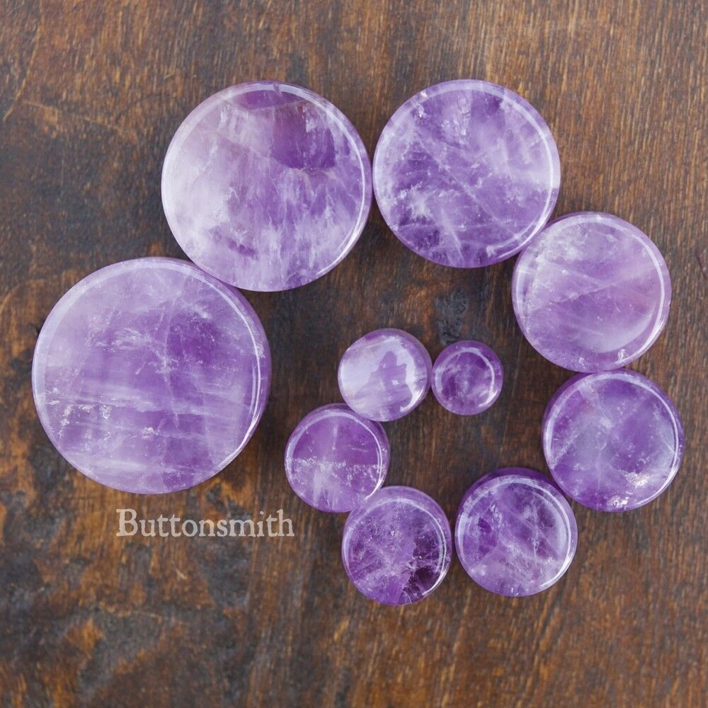 Pair Of Amethyst Natural Organic Stone Plugs Gauges Tunnel