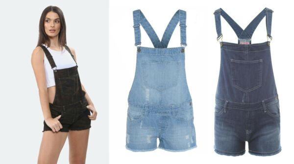 WOMENS LADIES SUMMER DENIM DUNGAREE SHORTS JEANS JUMPSUIT SIZES 8 TO 14 16 18 20