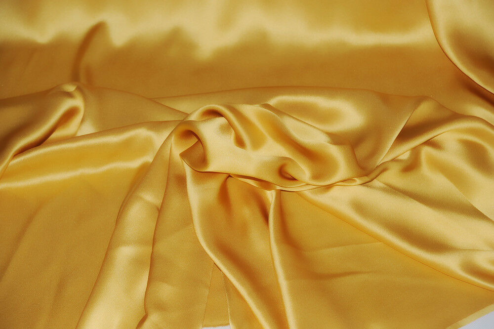 Gold Designer 19 Mm Charmeuse Mulberry Silk Fabric By The