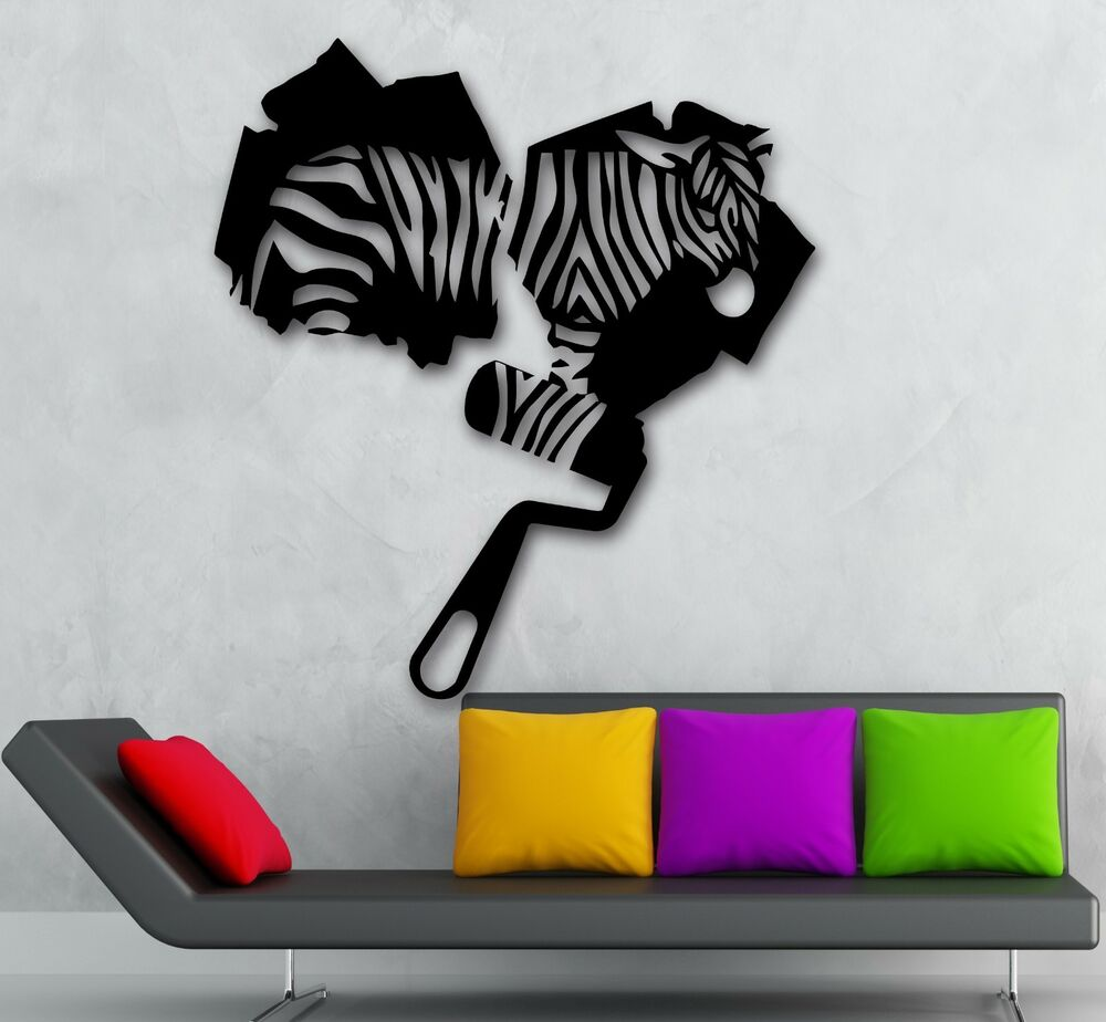 Wall Decor Stickers Modern : Wall stickers vinyl decal zebra animal abstract modern