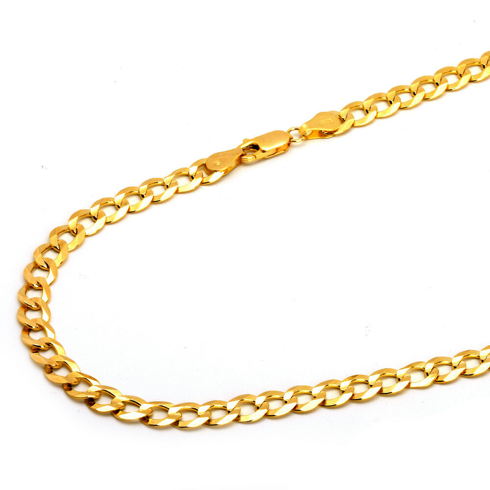 14k solid yellow gold concave curb cuban chain. Black Bedroom Furniture Sets. Home Design Ideas