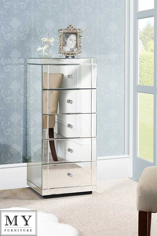 Mirrored furniture tallboy chest 5 drawers with plinth for Mondo convenienza settimino
