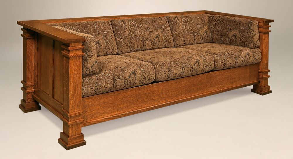 amish mission arts and crafts sofa couch upholstered solid