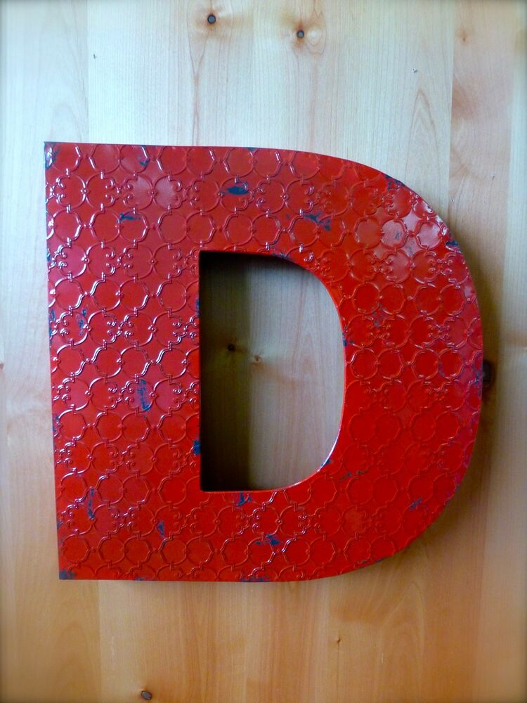 Industrial red metal wall letter d 20 tall rustic for S letter decoration