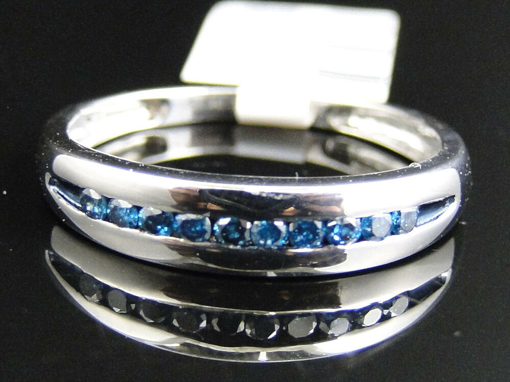 Mens white gold finish blue diamond pave 5 mm wedding for Mens wedding ring with blue diamonds