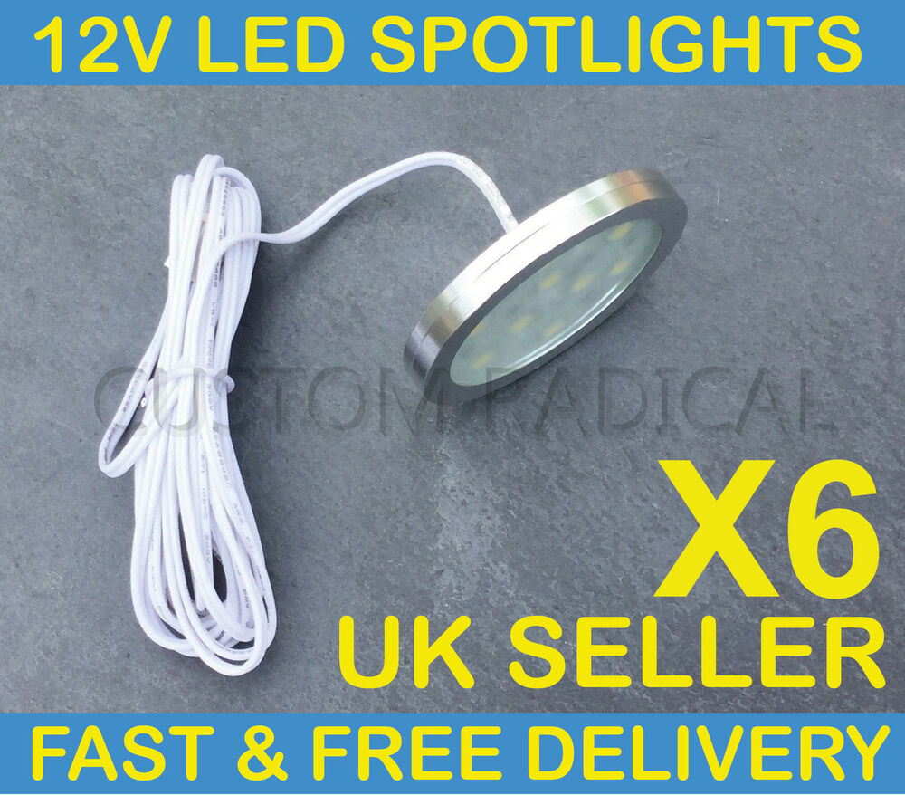 x6 vw t4 t5 transporter camper van boat 12v interior led spot lights slim flush ebay. Black Bedroom Furniture Sets. Home Design Ideas