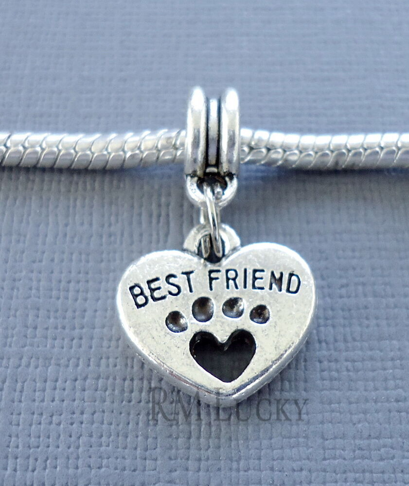 Best Friend Charm Bracelet: Heart Best Friend Pendant Dog Paw Fits European Charm