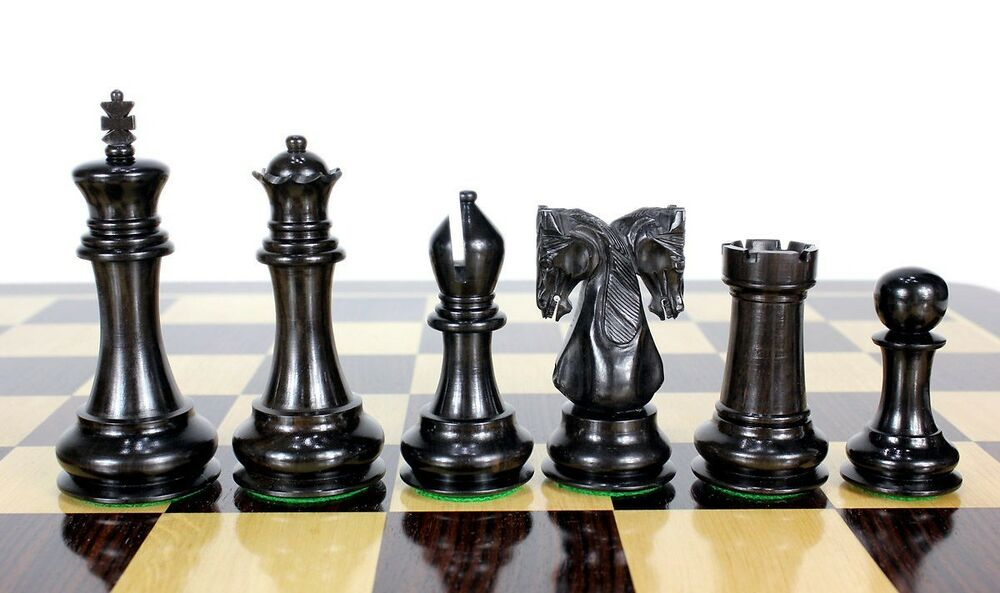 Ebony Wood Twin Knight Staunton Wooden Chess Set Pieces 4