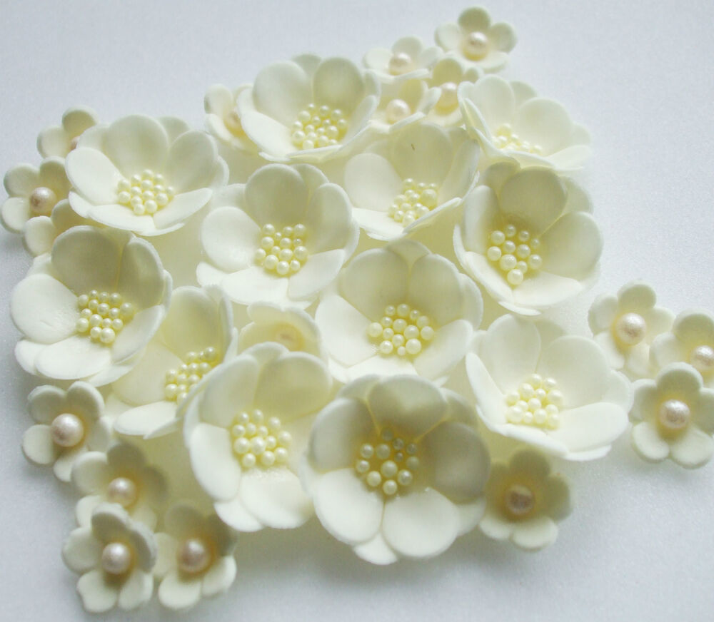 Edible Flowers For Cake Decorating : IVORY CREAM WEDDING PETALS handmade sugarpaste edible ...