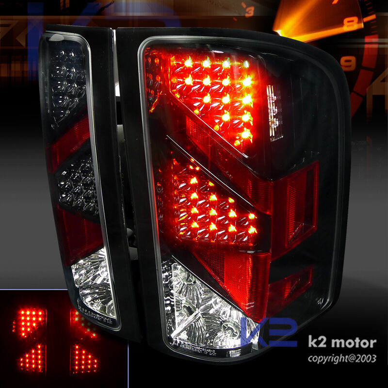 2007 2014 chevy silverado 1500 2500 3500 black led brake tail lights. Black Bedroom Furniture Sets. Home Design Ideas