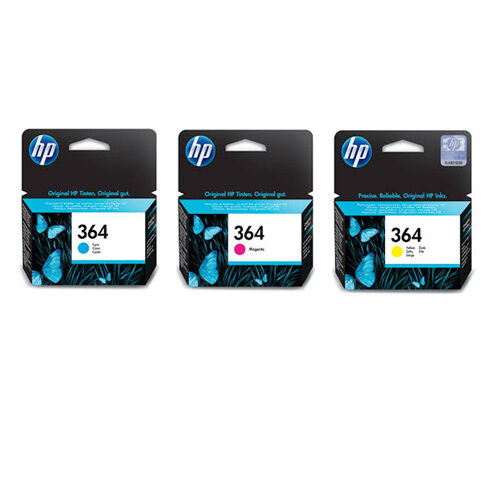 original genuine hp 364 cyan magenta yellow ink cartridges. Black Bedroom Furniture Sets. Home Design Ideas