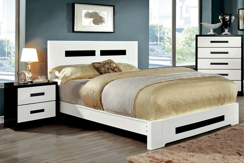 Cm7292 modern queen king bedroom furniture white platform bed frame ebay - Benefits of contemporary queen bed ...
