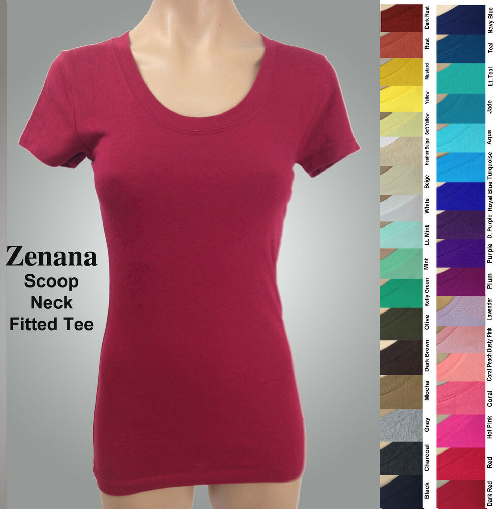 Zenana 3007 fitted tee t shirt scoop neck cotton spandex for What is a fitted t shirt