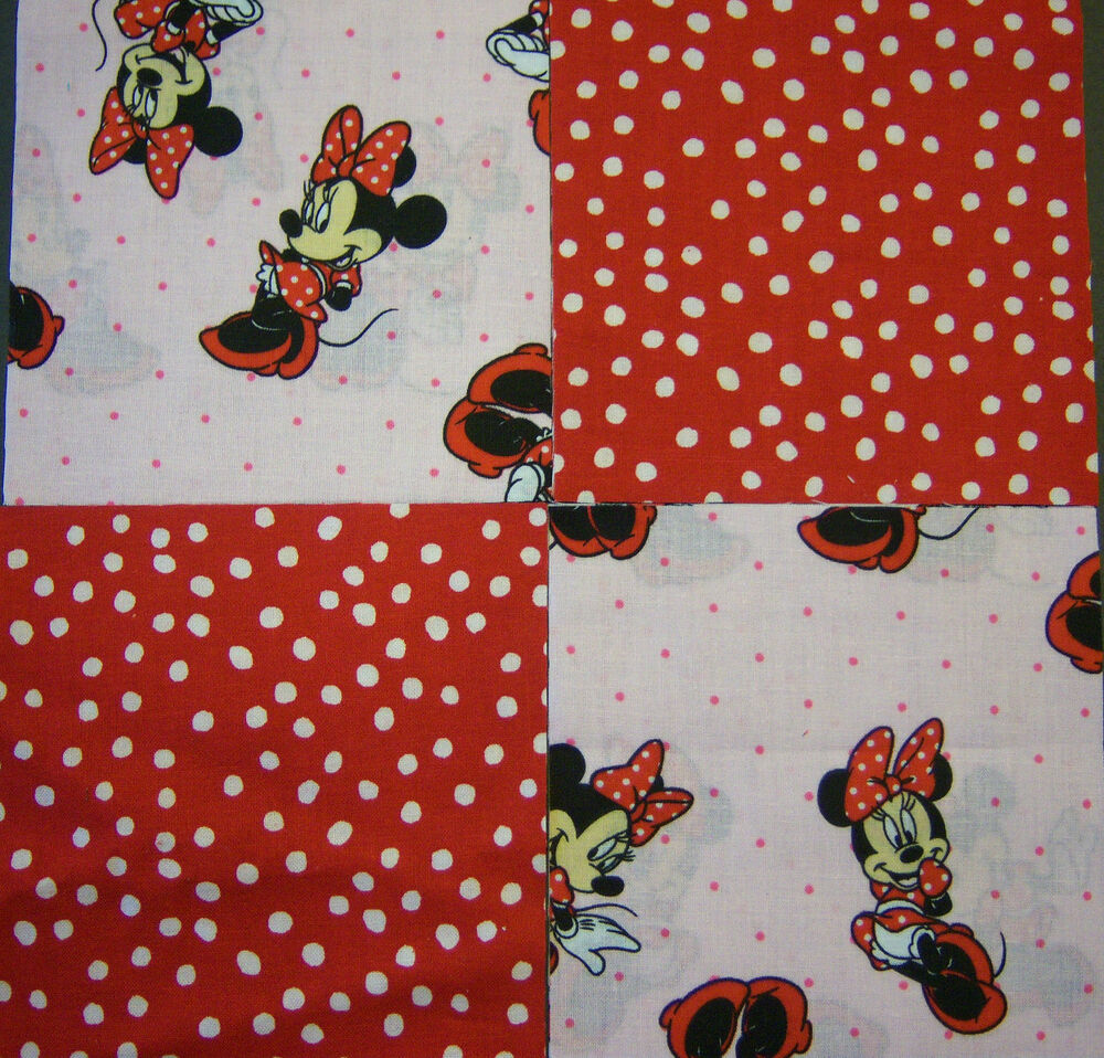Minnie Mouse 5 Quot Quilt Squares Cotton Fabric Quilting 32 Ebay
